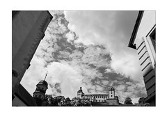 The Hidden Fortress (Thomas Listl) Tags: thomaslistl blackandwhite biancoenegro noiretblanc monochrome würzburg lavillelaplusdangereuse 35mm 35mm14 av af marienfestungwürzburg fortress architecture angle tower sky space clouds urban perspective ngc