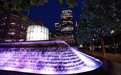 Canary Wharf - London (Mark Wordy) Tags: canarywharf london isleofdogs fountains water night cascade onecanadasquare cabotsquare