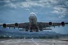 power (D Cation) Tags: scotland glasgow airport emirates a380 airbus takeoff jet power vortex runway