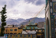 Tajirsh (Ash and Debris) Tags: tehran mosque houses iran tree mosaic flags mountains city sky clouds weather contrast mountain
