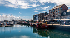 Barbican (1 of 1) (trevorhicks) Tags: plymouth england unitedkingdom devon barbican marina cider press naked nude boat fishing water horbour port sea reflection buildings people pubs bars walkways windows umbrella sunshine sky clouds outdoor canon 5d mark iv tamron filter