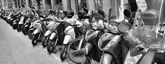 Mopedparkplatz (grasso.gino) Tags: moped motorrad motocycle schwarzweis monochrome nikon d7200 reihe row