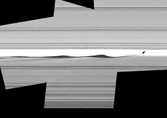 Daphnis' Complexity, variant (sjrankin) Tags: 16june2019 edited nasa saturn cassini rings primage pia23167 panorama grayscale gap scalloped daphnis moon