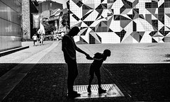 father and son (judydeanclasen) Tags: father'sdayusa blackandwhite düsseldorf patterns man boy mono highcontrast shadows