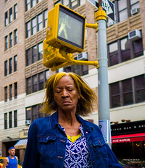 The New Yorkers - Yellow (François Escriva) Tags: street streetphotography us usa nyc ny new york people candid olympus omd photo rue sun light woman colors sidewalk manhattan yellow hair signs walk buildings blue closed eyes