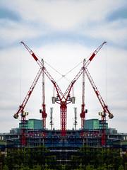 Giving Support (Steve Taylor (Photography)) Tags: digitalart building construction crane scaffolding green blue red uk gb england greatbritain unitedkingdom london trees symmetry