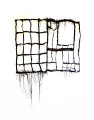 detitled (Ines Seidel) Tags: news newspaper pattern black ink yarn roots structure empty paper fiberart zeitung papier nachrichten enttitelt detitled schwarz muster