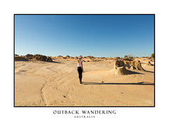 Woman in a desert landscape in outback Australia (sugarbellaleah) Tags: woman outback landscape desert walking travel tourism backpacker traveller remote wandering female people outdoors adventure dry arid drought climate sand mungo landform sightseeing looking amazing awe copyspace sky hat jeans fashion country lifestyle nationalpark