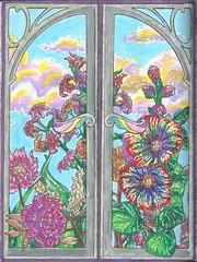 silverwin (regina11163) Tags: silver window bluesky flowers clouds nature spring