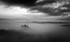 Belvedere in the fog (Fabrizio Massetti) Tags: landscape landscapes light longexposure fog fabriziomassetti famasse tuscany toscana tree phaseone iq180 italia italy bw belvedere sanquirico