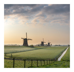 Early mornings at Leidschendam (Rob Schop) Tags: molendriegang leidschendam panorama zuidholland clouds morning sunrise cold rijp grass windmill sigma30mm14 pola sonya6000 hoyaprofilters composition 11