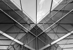 Reflections 14 (Récard) Tags: glas architecture reflection geometry facade bw sw angles