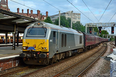 67012 1Z67 Preston (British Rail 1980s and 1990s) Tags: train rail railway loco locomotive lmr londonmidlandregion mainline wcml westcoastmainline lancs lancashire livery preston liveried traction diesel db dbc dbs cargo schenker 67 class67 chiltern atw arrivatrainswales blue wsmr wrexhamshropshiremarylebonerailway station 1z67 srps scottishrailpreservationsociety charter tour railtour passenger locohauled br britishrail mark mk1 mki