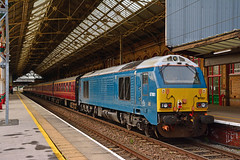 67001 1Z67 Preston (British Rail 1980s and 1990s) Tags: train rail railway loco locomotive lmr londonmidlandregion mainline wcml westcoastmainline lancs lancashire livery preston liveried traction diesel db dbc dbs cargo schenker 67 class67 chiltern atw arrivatrainswales blue wsmr wrexhamshropshiremarylebonerailway station 1z67 srps scottishrailpreservationsociety charter tour railtour passenger locohauled br britishrail mark mk1 mki