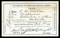 Pittsburgh, Fort Wayne & Chicago Railway Pass, 1873 - Valparaiso, Indiana (Shook Photos) Tags: pass ticket railroad railroads railway railways pittsburghftwayneandchicagorailway pittsburghfortwayneandchicagorailway pittsburghftwaynechicagorailway pittsburghfortwaynechicagorailway valparaisoindiana valapraiso indiana portercounty