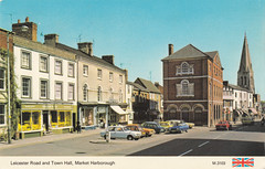 Market Harbrough old postcard 1970s (Spottedlaurel) Tags: marketharborough oldpostcard 1970s