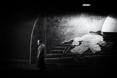 street art (Sandy...J) Tags: germany deutschland light darkness tunnel grafitti photography fotografie urban noir underpass monochrom man blackwhite bw street streetphotography sw schwarzweis strasenfotografie stadt city walking wall unterführung fuji xt100 atmosphere alone stimmung mood absoluteblackandwhite