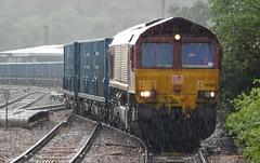 Just a touch wet (The Walsall Spotter) Tags: wakefield kirkgate railway yorkshire dbschenker class66 diesel locomotive 66108 rain uk freight knowsley terminal british railways networkrail