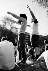 Raise Your Arms (Bosscat2) Tags: ilfordfilm ilfordhp5 ilfordid11 nikonfm2n nikkor28mm london blackandwhitefilm dayforfreedommarch2018