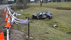 Roll over takes out the safety barrier (spelio) Tags: accident prang vehicle crash australia nsw rural mainroad arterial highway barton safety barrier witches hats fence suv