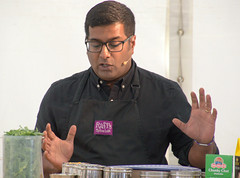 A demonstration from Rafi's Spicebox whose York shop on Goodramgate specialises in curry kits - 5 (Tony Worrall) Tags: yorkfoodfestival2019 york food festival 2019 spice asian show event stage demo fun cookery cooking display rafi'sspicebox rafi's spicebox curry make kevinfernandez yorkshire north update place location uk england visit area attraction open stream tour country item greatbritain britain english british gb capture buy stock sell sale outside outdoors caught photo shoot shot picture captured ilobsterit instragram