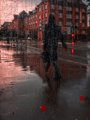 City Red (Fan.D & Dav.C Photgraphy) Tags: casual clothing city street urban cityscape lifestyles daytime togetherness scene series candid caucasian ethnicity alberta leisure activity young adult mid sitting one person rain france red walking sidewalk man holding