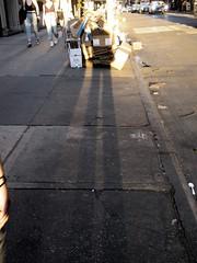 Evening Cardboard Shadow Portrait on 49th Street NYC 1247 (Brechtbug) Tags: evening shadow portrait 49th street 8th avenue new york city 2019 selfie i guess nyc long leg shadows legged stilt man looking sidewalk ave st cardboard card board