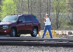 CSX gals also railroad with their clipboard and radio in the yard at Erwin, Tennessee 4-15-2008 (alcomike43) Tags: csx erwintennessee erwinyard clinchfieldyard railroads trains gals ladies people employee woman girls freighttrains unitcoaltrains manifestfreighttrains vehicle tracks rails rightofway mainline siding ballast roadbed weldedribbonrail ties spikes photo photgraph color digitalimage