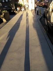 Evening Shadow Portrait Holding Bags on 49th Street NYC 1227 (Brechtbug) Tags: evening shadow portrait 49th street 8th avenue new york city 2019 selfie i guess nyc long leg shadows legged stilt man looking sidewalk ave st