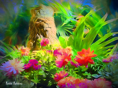 The King (brillianthues) Tags: garden flowers floral dahlias palm nature statue lion colorful collage photography photmanuplation photoshop