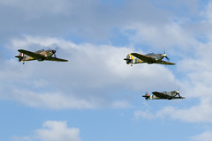 Spitfire and two Hurricanes (Paul Braham Photography) Tags: aeroplane airplane aircraft warbird oldwarden shuttleworth gloster supermarine hawker percival airshow airshows evening