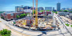 building below street level (Sky Noir) Tags: architecture modern new building construction design exterior sky cityscape big property hourigan wide pano vcu virginia commonwealth university medical