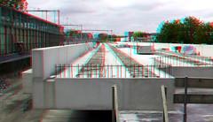 NS-station Driebergen-Zeist 3D (wim hoppenbrouwers) Tags: nsstation driebergenzeist 3d anaglyph stereo redcyan viaduct brug beton betonkonstruktie