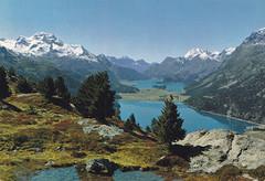 Postkarte / Schweiz (micky the pixel) Tags: postkarte postcard ephemera schweiz suisse switzerland oberengadin landschaft landscape gebirge mountains alpen alps ostalpen bernina pizlamargna fuorclasurlej see lake silvaplanersee silsersee engadinerseenplatte grischun kantongraubünden