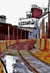 Curved rail siding, Ashland Chemical (Berkeley CA) (hardhatMAK) Tags: ashlandchemical curvedrailsiding berkeleyca 10311987 scannedslide kodachrome64