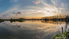 Evening mood at the fishing pond in Sandstedt, Cuxland (Friedels Foto Freuden) Tags: canond80 panorama cuxland sandstedt angelteich teich spiegelung abendstimmung sonnenuntergang sunset wolken clouds bäume