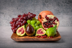 The Oldest Fruits (Muhammad Al-Qatam) Tags: nikon d850 kuwait figs pomegranate grapes red white fruits still life table top