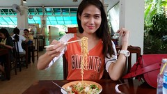 Thai noodles (ChalidaTour) Tags: thailand thai asia asian food spicy noodle seafood chop sticks girl teen twen beautiful eating restaurant