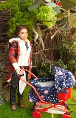 Strolling through the park with the wee one (fionasimagination) Tags: pram irishsetter miniature diorama family baby mattel doll oakdoll repaint custom fashionista26 fashionista twins puppy lovin pet barbie madetomovebarbie made move madetomove