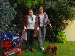 Loving couple in the park (fionasimagination) Tags: madetomovebarbie barbie pet lovin puppy twins fashionista fashionista26 custom repaint oakdoll doll mulder xfiles mattel baby family diorama miniature irishsetter pram