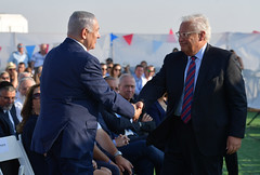 """Unveiling Ceremony of the sign for """"Trump Heights"""" at the Golan Heights (Prime Minister of Israel) Tags: ברוכים israel"""