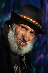Uncle Ted (Charles Hamilton Photography) Tags: australia brisbane streetportrait portrait aborigini aboriginalaustralian eyes characterstudy colourstreetportrait hat beard sunlight peopleinthecity primelens nikond7000 charleshamilton