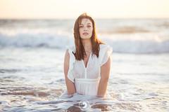 Joanna (popz.photographie) Tags: sunset girl shooting ocean landscape water beach lights labenne
