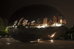 Night Gate (jfre81) Tags: chicago cloud gate bean night reflection building michigan avenue streetwall long exposure city urban cityscape public art james fremont photography jfre81 canon rebel xs eos