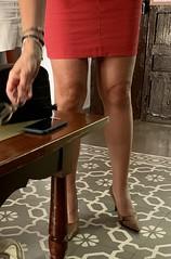 MyLeggyLady (MyLeggyLady) Tags: red sexy leather sex legs thighs heels secretary stiletto miniskirt milf teasing nopanties cfm hotwife pumps