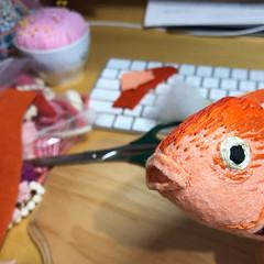 Fish Head (wip) (hine) Tags: fish hinemizushima handmade felt feltsculpture softsculpture craft anatomy anatomyart embroidery wip workinprogress