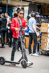 Paris -Saint Ouen Flea Market-Boy with scooter (Gilama Mill) Tags: red paris france market people french fashion flea boy man scooter jacket