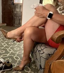 MyLeggyLady (MyLeggyLady) Tags: cleavage hotwife sex milf sexy secretary teasing feet toe red miniskirt thighs cfm leather pumps stiletto legs heels