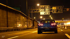Midnight Rendezvous (bam541) Tags: car gran turismo night scapes gt sport playstation video game ps4 high speed blur street japan racing nissan skyline gtr