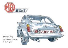 MG B gt, 1977 (gerard michel) Tags: belgium liège auto ancêtre mg sketch croquis
